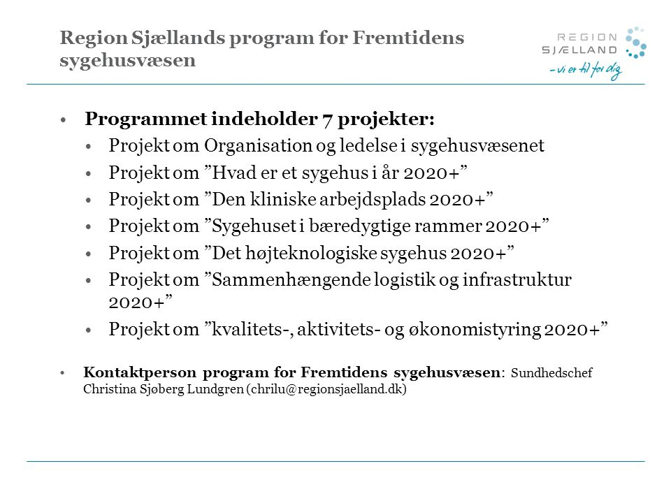 Region Sjællands program for Fremtidens sygehusvæsen