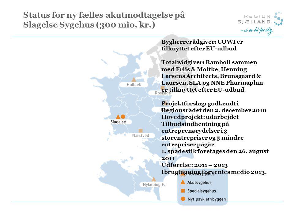 Status for ny fælles akutmodtagelse på Slagelse Sygehus (300 mio. kr.)