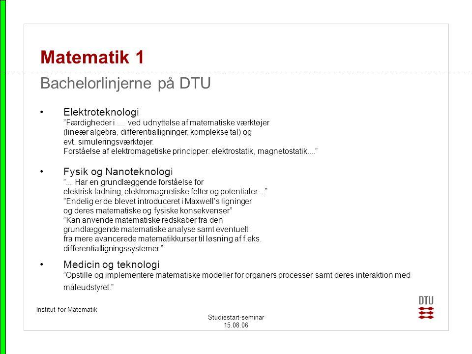 Matematik 1 Bachelorlinjerne på DTU