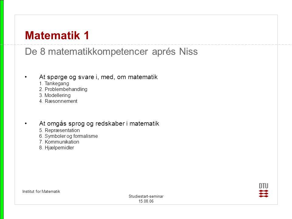 Matematik 1 De 8 matematikkompetencer aprés Niss