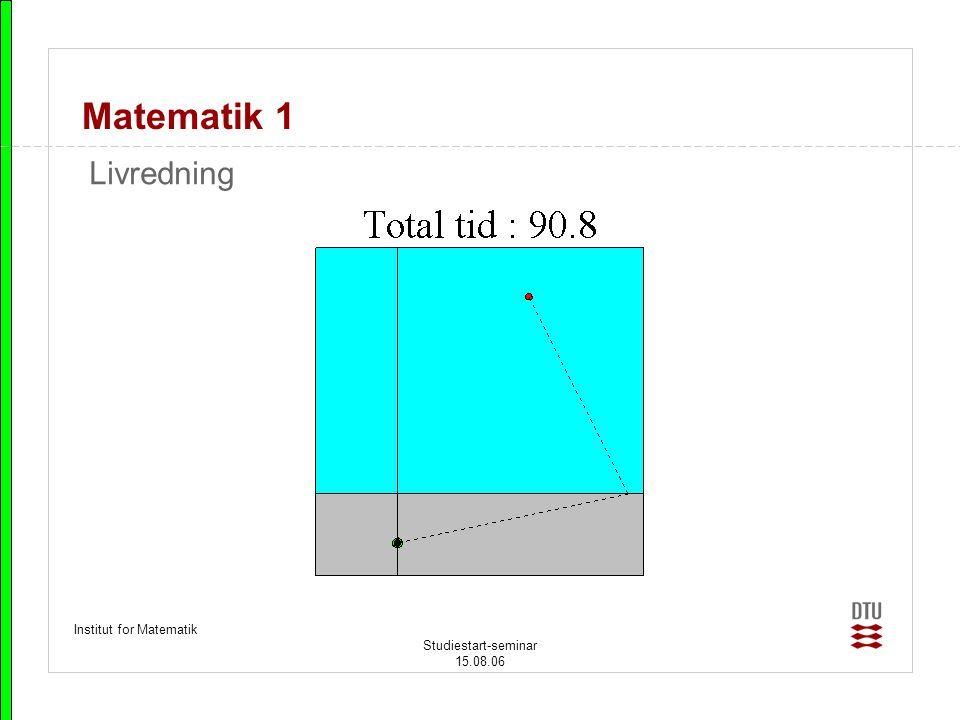 Matematik 1 Livredning Institut for Matematik Studiestart-seminar