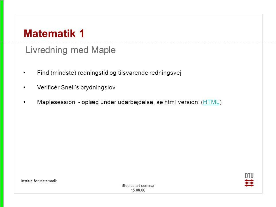 Matematik 1 Livredning med Maple