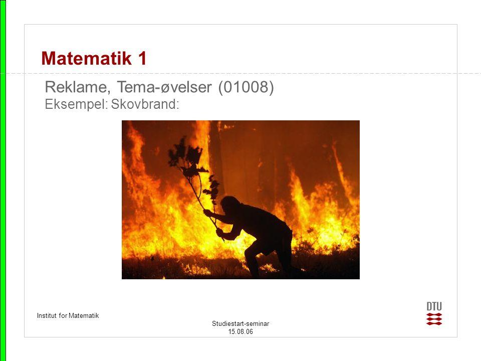 Matematik 1 Reklame, Tema-øvelser (01008) Eksempel: Skovbrand:
