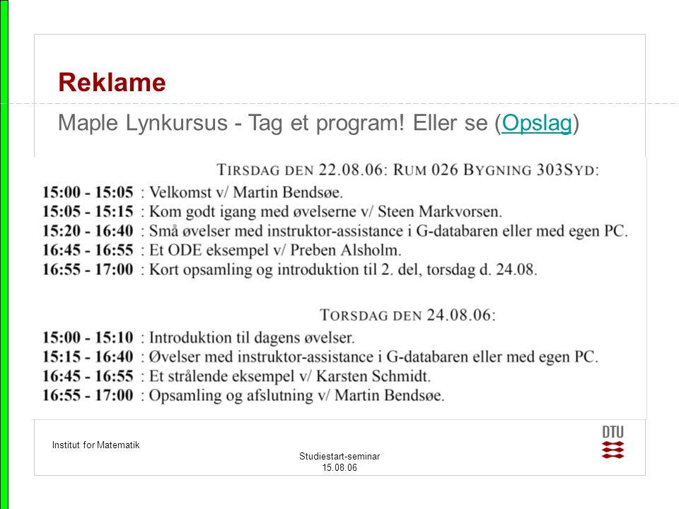 Reklame Maple Lynkursus - Tag et program! Eller se (Opslag)