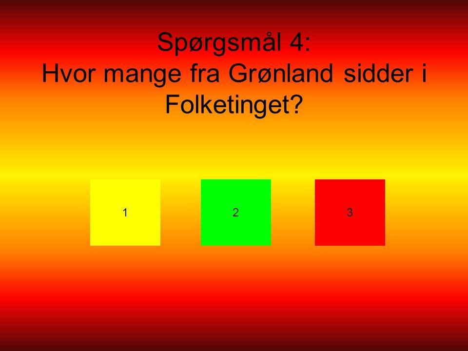 Spørgsmål 4: Hvor mange fra Grønland sidder i Folketinget