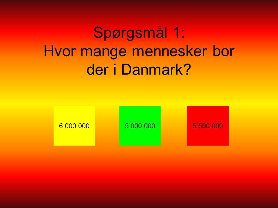 Spørgsmål 1: Hvor mange mennesker bor der i Danmark