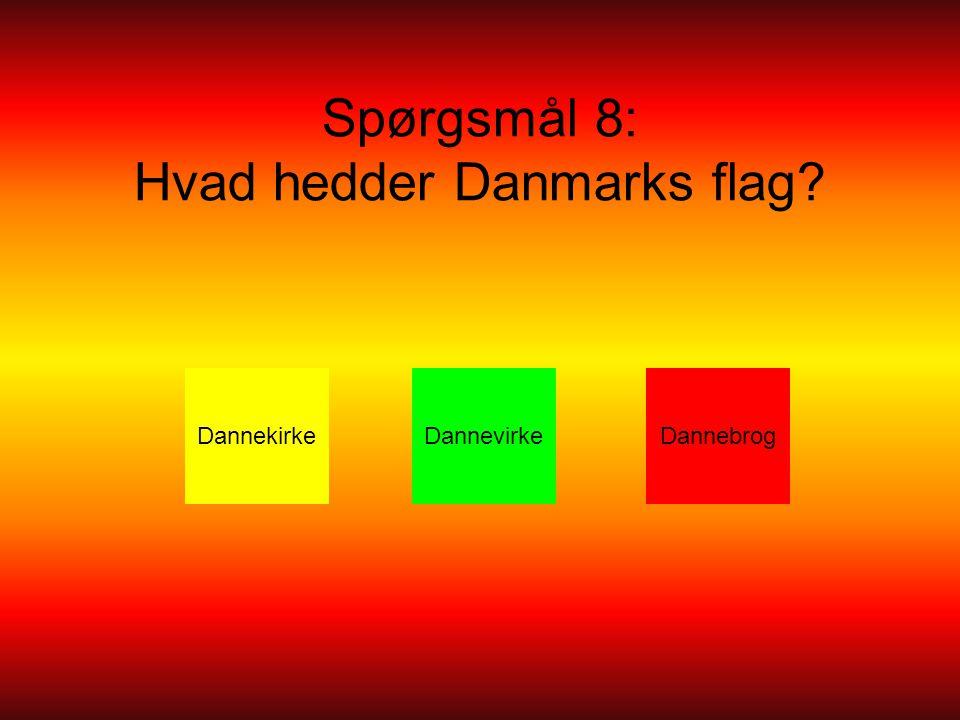 Spørgsmål 8: Hvad hedder Danmarks flag