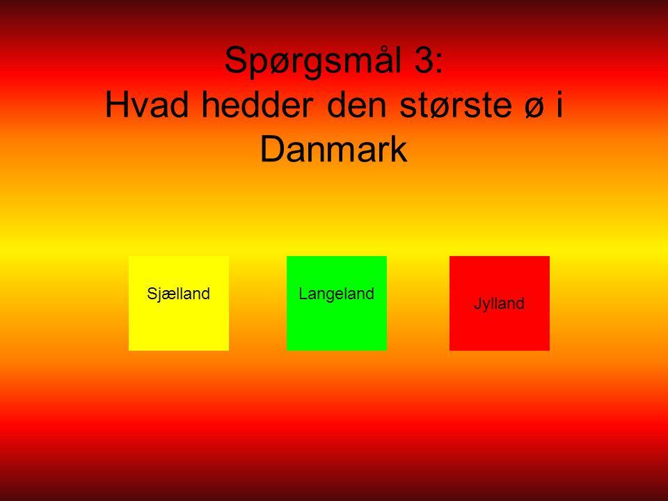 Spørgsmål 3: Hvad hedder den største ø i Danmark