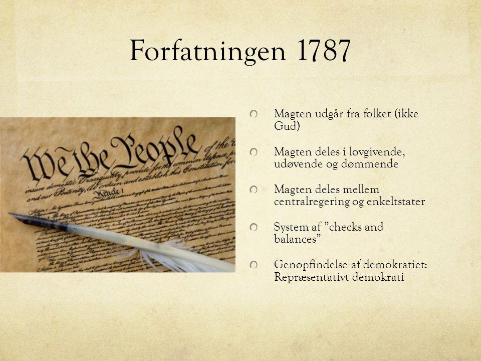 Forfatningen 1787 Magten udgår fra folket (ikke Gud)