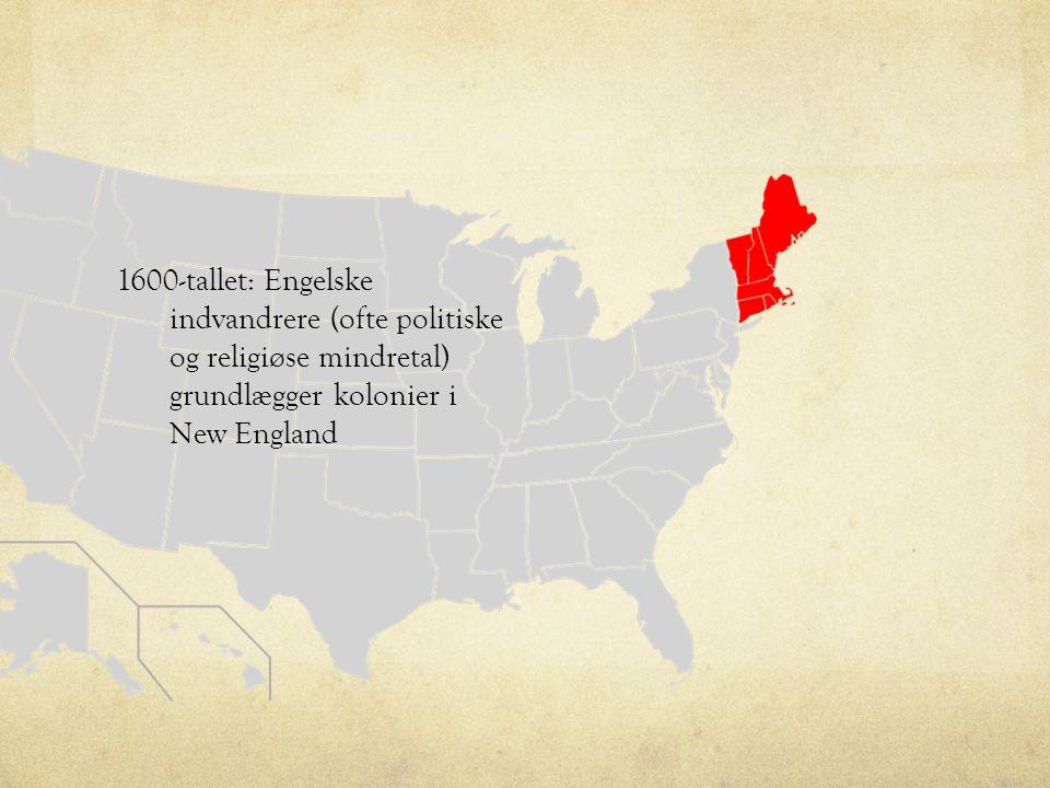 1600-tallet: Engelske indvandrere (ofte politiske og religiøse mindretal) grundlægger kolonier i New England