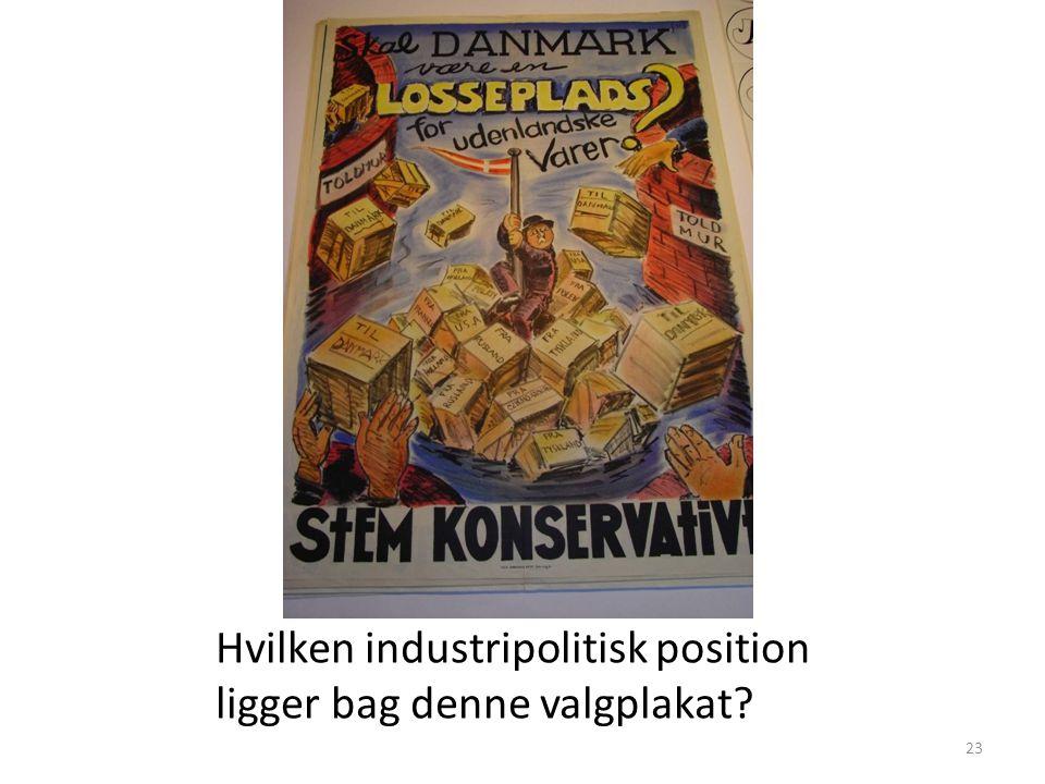 Hvilken industripolitisk position ligger bag denne valgplakat