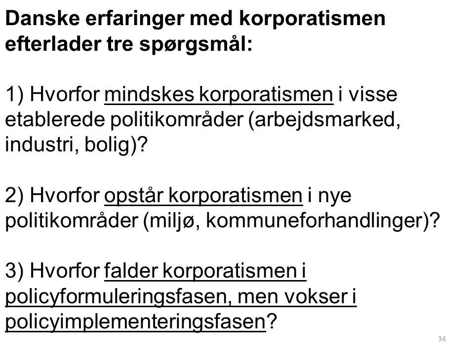 Danske erfaringer med korporatismen efterlader tre spørgsmål: