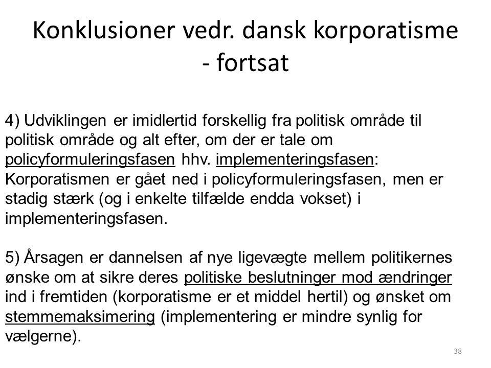 Konklusioner vedr. dansk korporatisme - fortsat