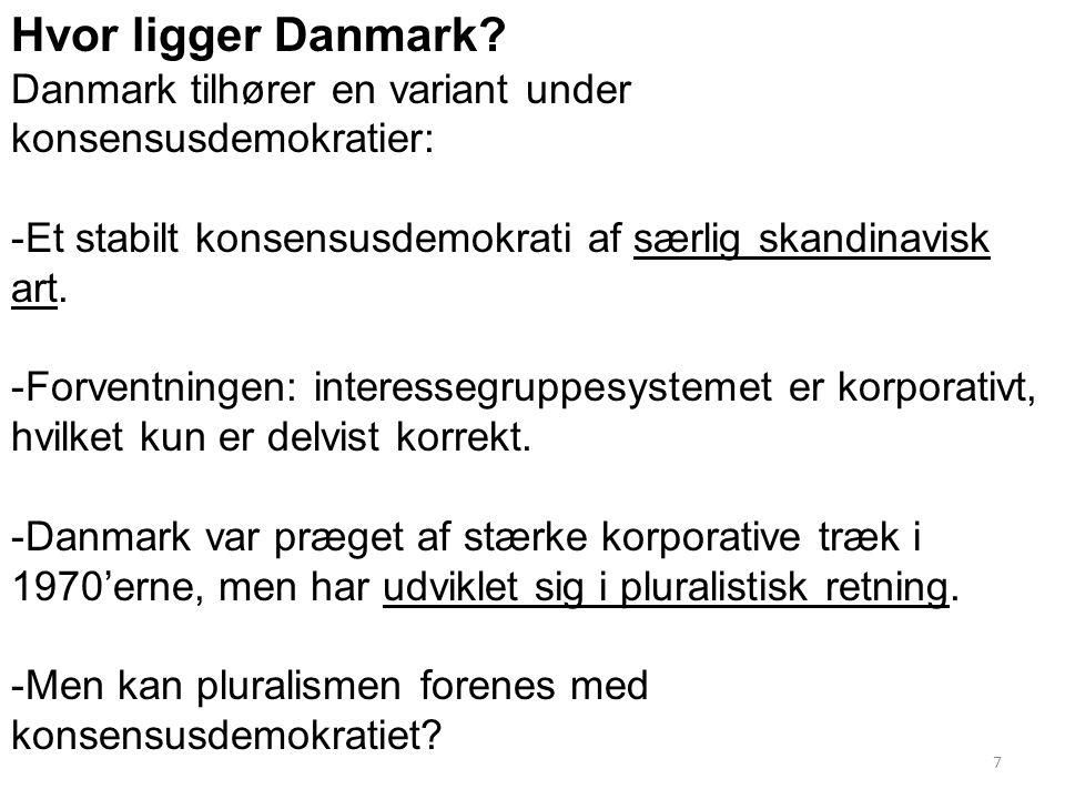 Hvor ligger Danmark Danmark tilhører en variant under konsensusdemokratier: Et stabilt konsensusdemokrati af særlig skandinavisk art.