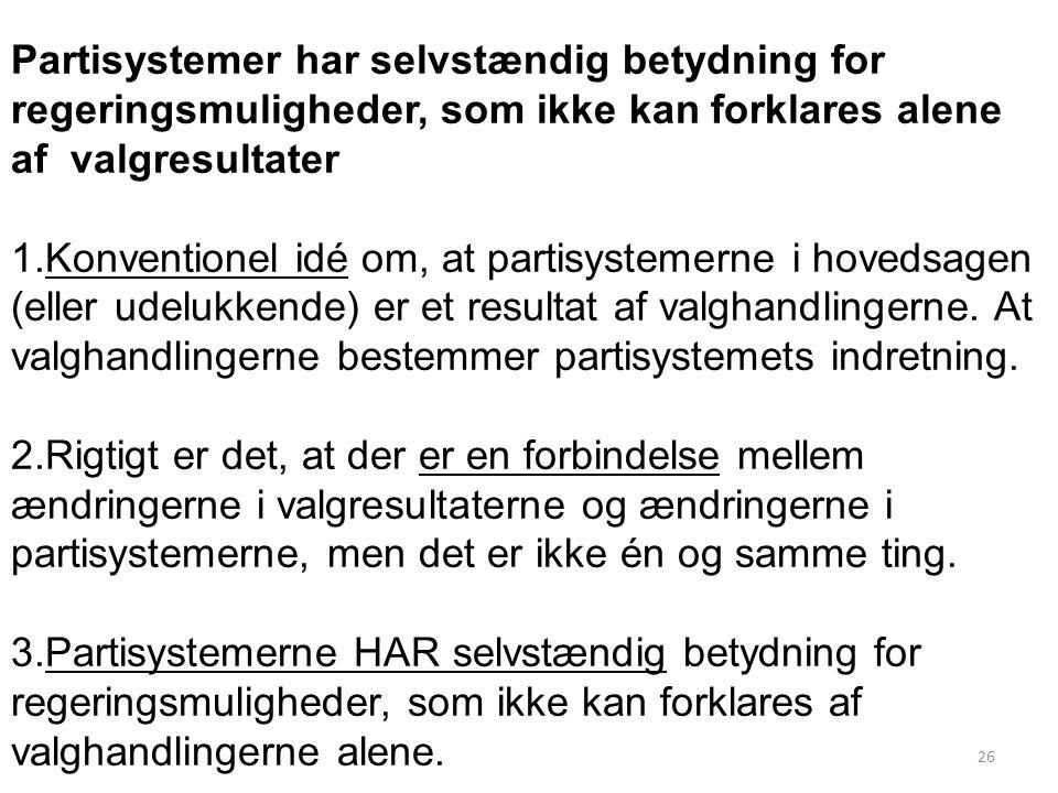 Partisystemer har selvstændig betydning for regeringsmuligheder, som ikke kan forklares alene af valgresultater