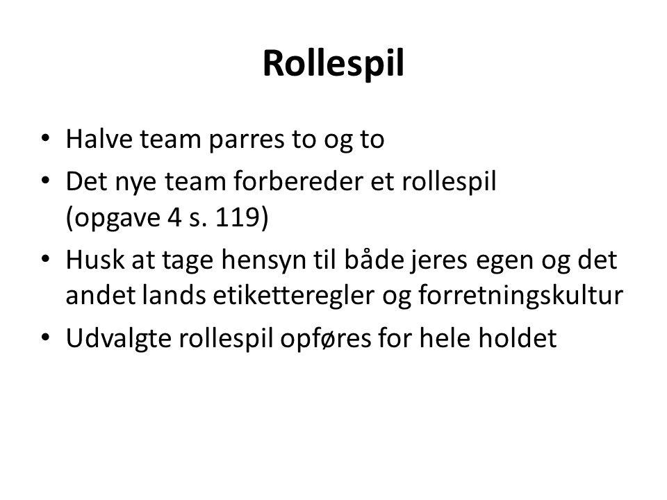 Rollespil Halve team parres to og to