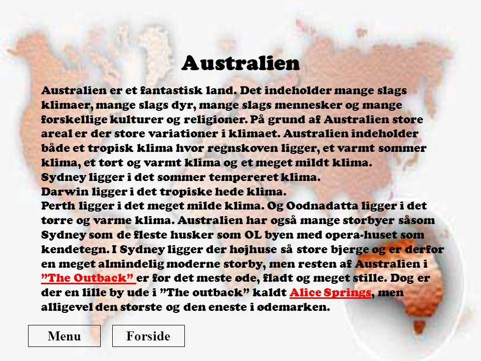 Australien Menu Forside