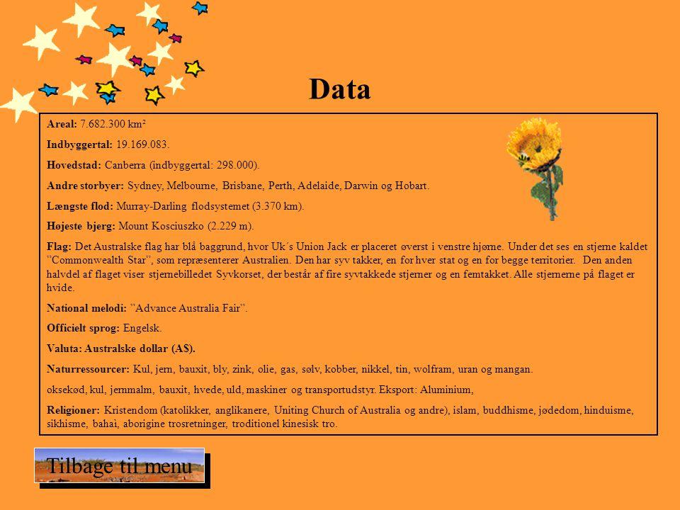 Data Tilbage til menu Areal: 7.682.300 km² Indbyggertal: 19.169.083.