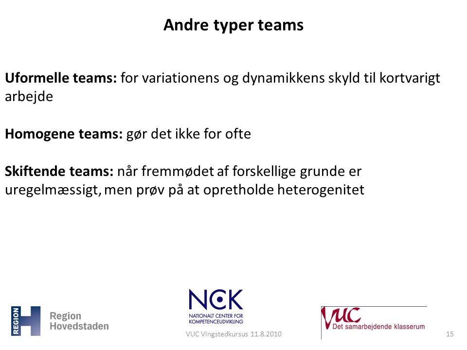 Andre typer teams Uformelle teams: for variationens og dynamikkens skyld til kortvarigt arbejde. Homogene teams: gør det ikke for ofte.