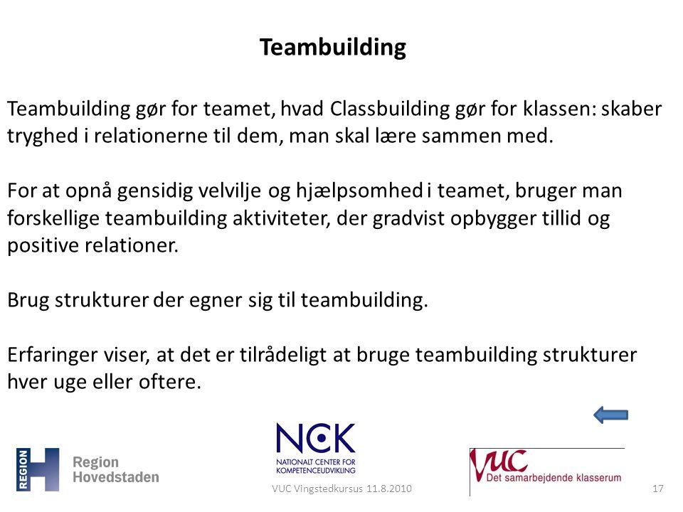 Teambuilding Teambuilding gør for teamet, hvad Classbuilding gør for klassen: skaber tryghed i relationerne til dem, man skal lære sammen med.