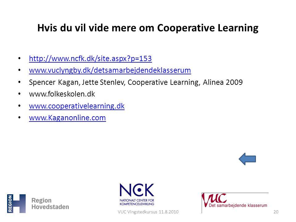 Hvis du vil vide mere om Cooperative Learning