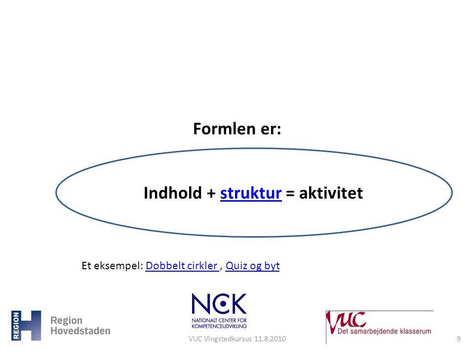 Indhold + struktur = aktivitet