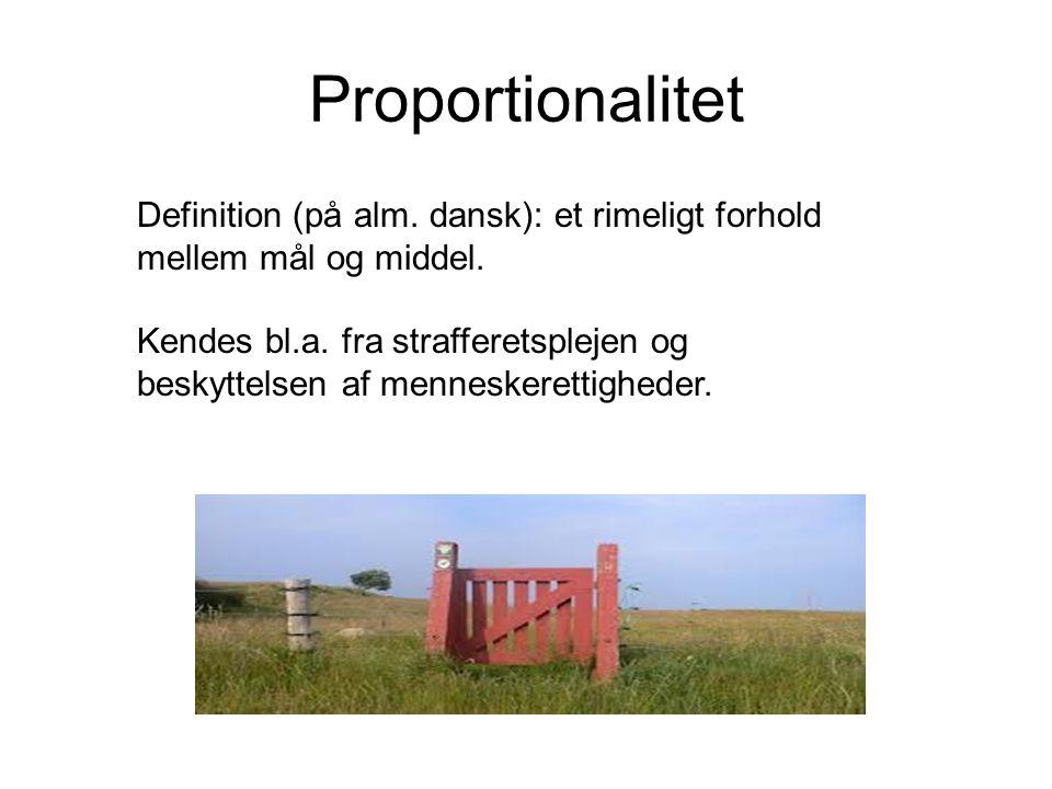 Proportionalitet Definition (på alm. dansk): et rimeligt forhold mellem mål og middel.
