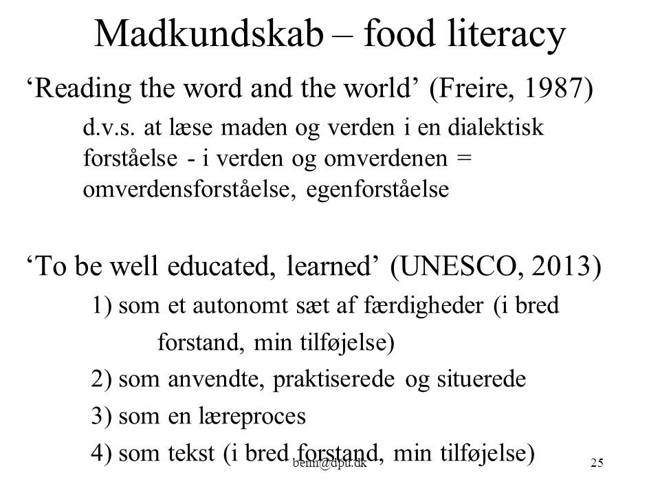 Madkundskab – food literacy