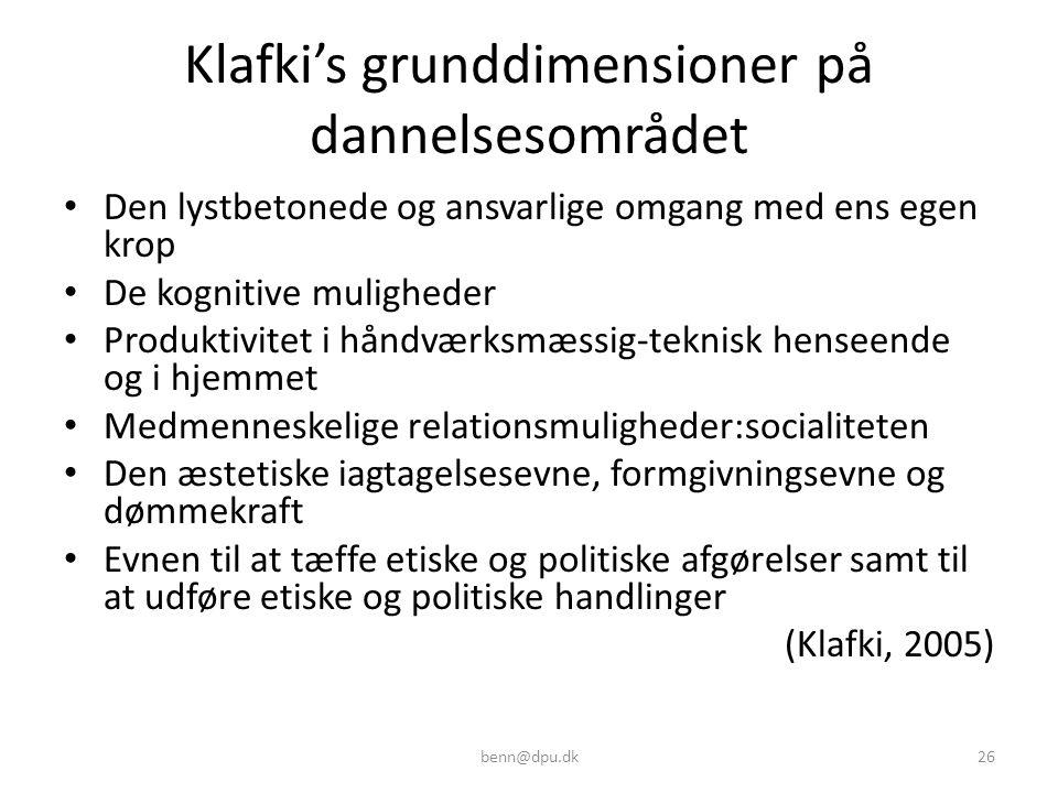 Klafki's grunddimensioner på dannelsesområdet