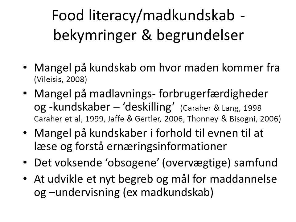 Food literacy/madkundskab -bekymringer & begrundelser