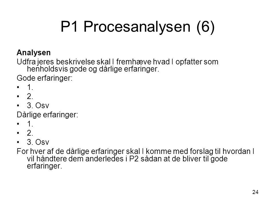 P1 Procesanalysen (6) Analysen