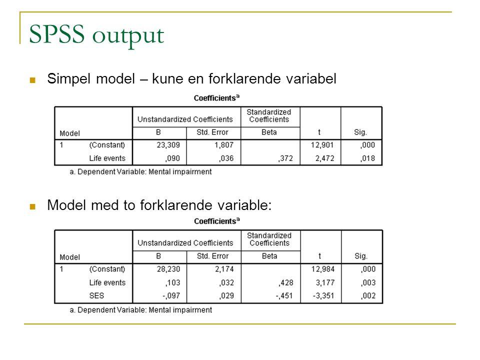 SPSS output Simpel model – kune en forklarende variabel