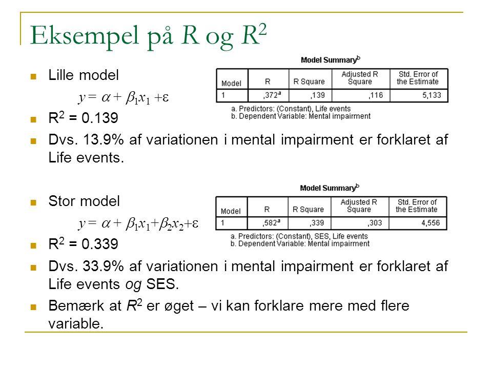 Eksempel på R og R2 Lille model y = a + b1x1 +e R2 = 0.139