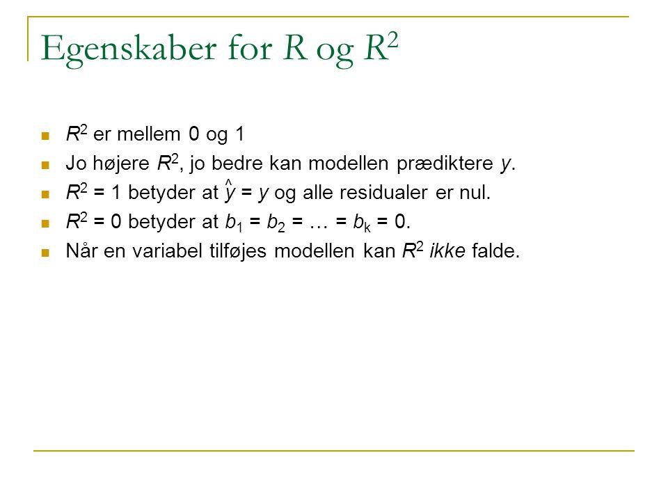 Egenskaber for R og R2 R2 er mellem 0 og 1