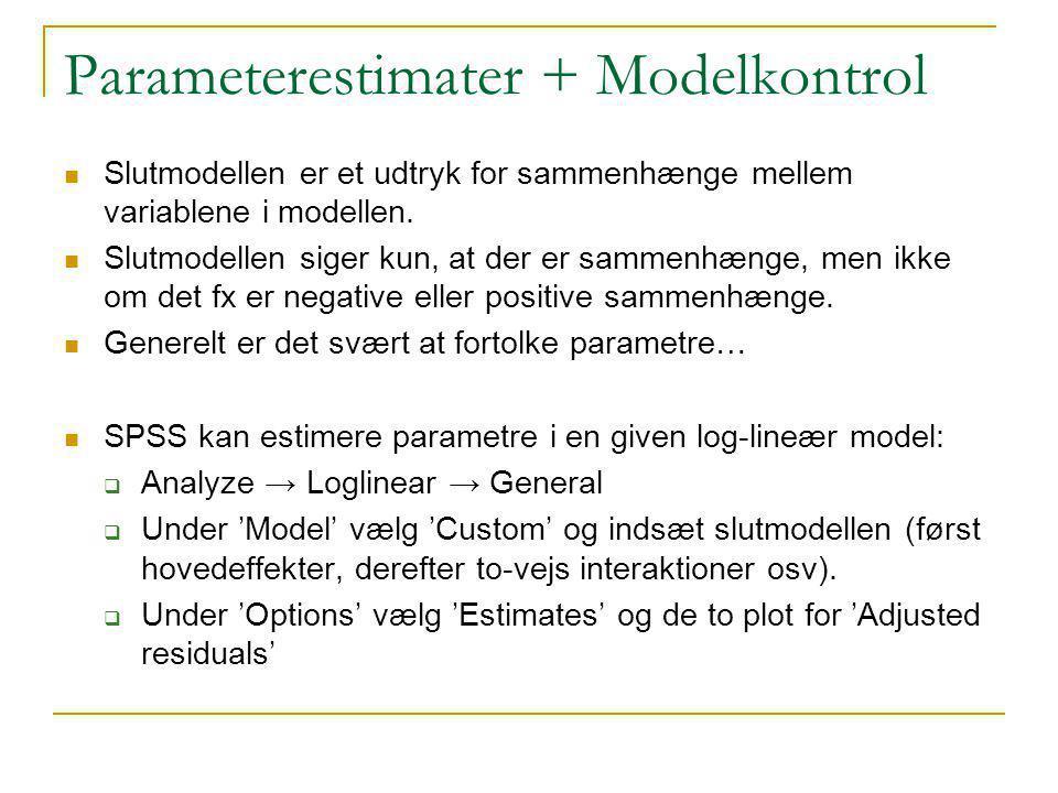 Parameterestimater + Modelkontrol