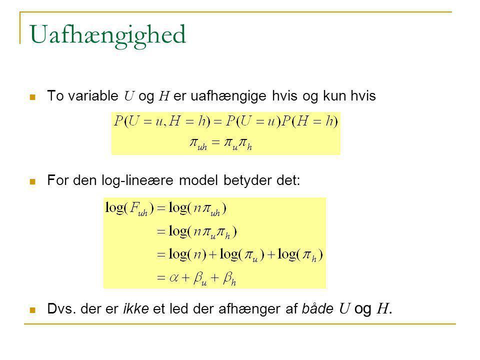 Uafhængighed To variable U og H er uafhængige hvis og kun hvis