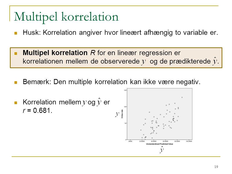 Multipel korrelation Husk: Korrelation angiver hvor lineært afhængig to variable er.