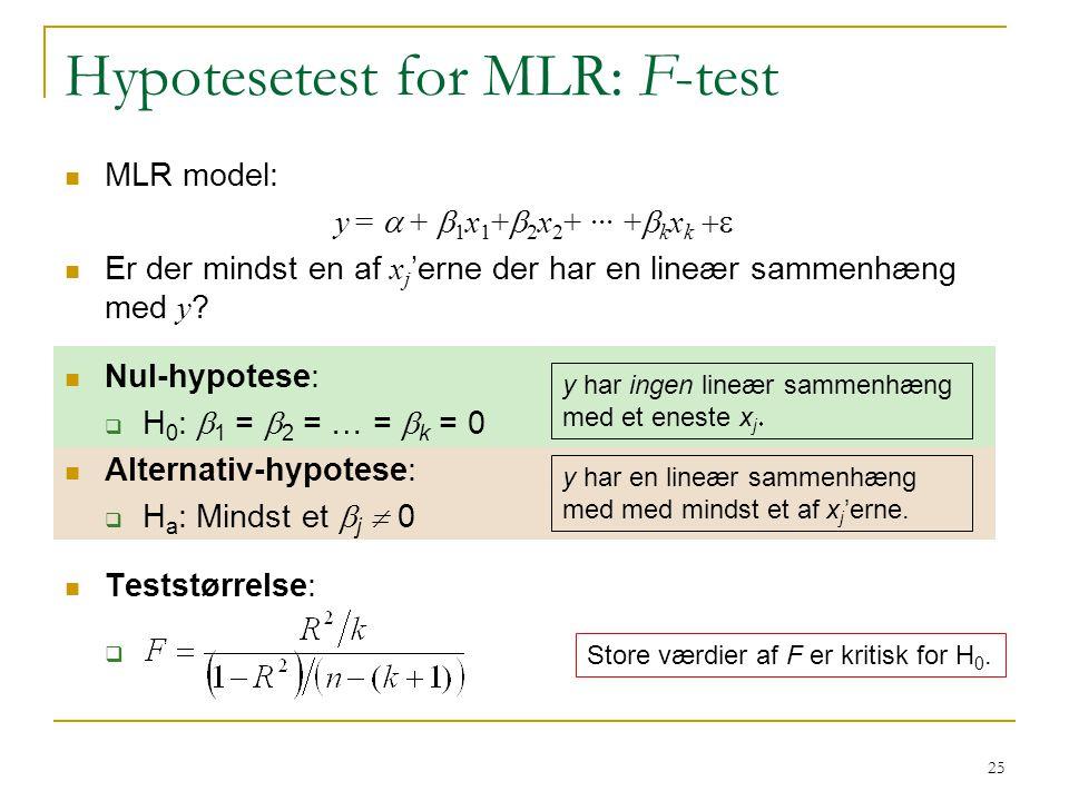 Hypotesetest for MLR: F-test