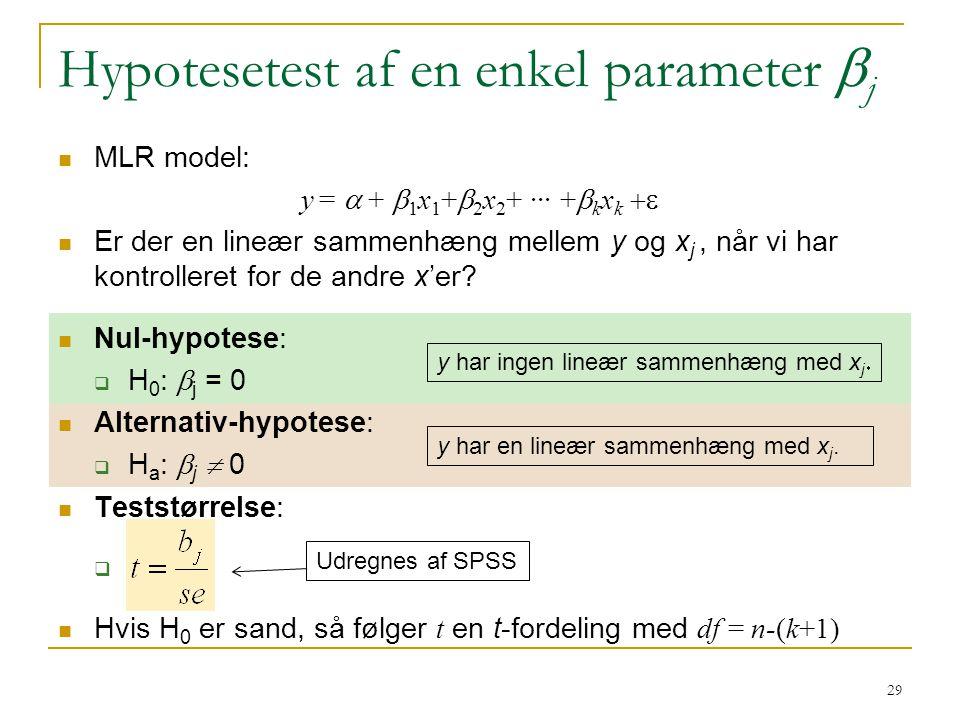 Hypotesetest af en enkel parameter bj