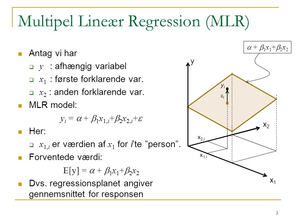 Multipel Lineær Regression (MLR)