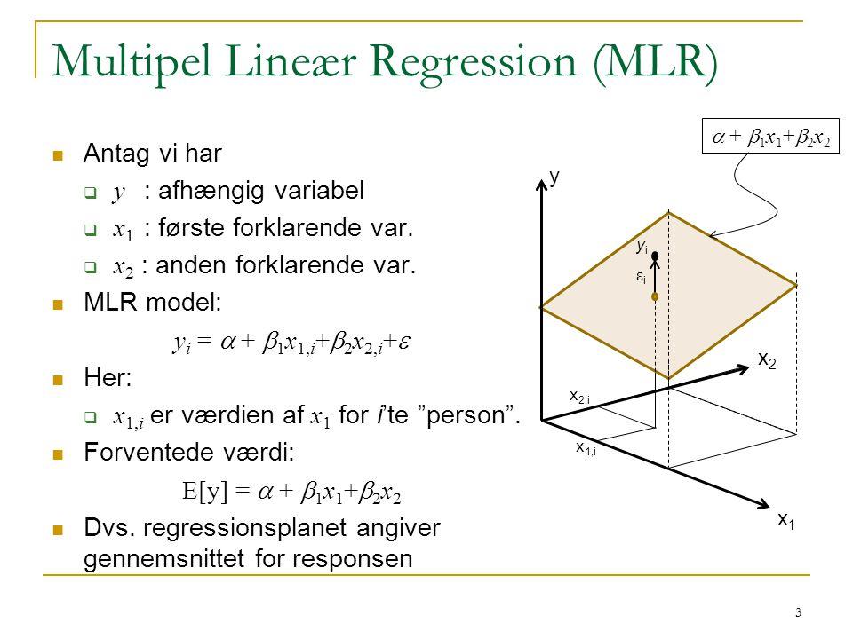 Multipel Lineær Regression (MLR)