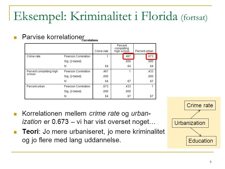 Eksempel: Kriminalitet i Florida (fortsat)