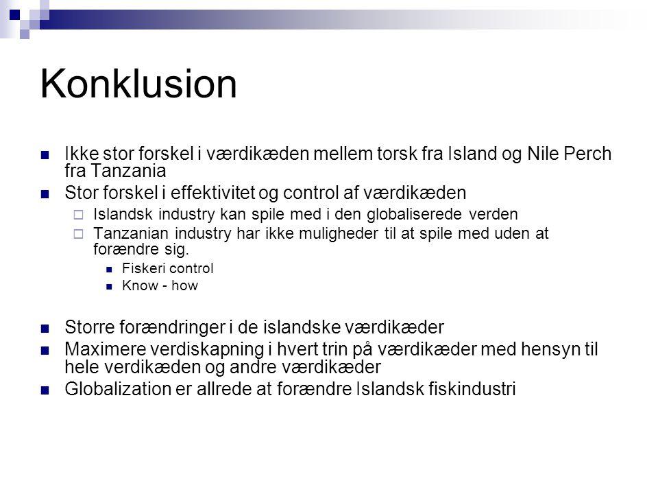Konklusion Ikke stor forskel i værdikæden mellem torsk fra Island og Nile Perch fra Tanzania. Stor forskel i effektivitet og control af værdikæden.