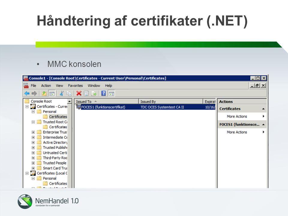 Håndtering af certifikater (.NET)