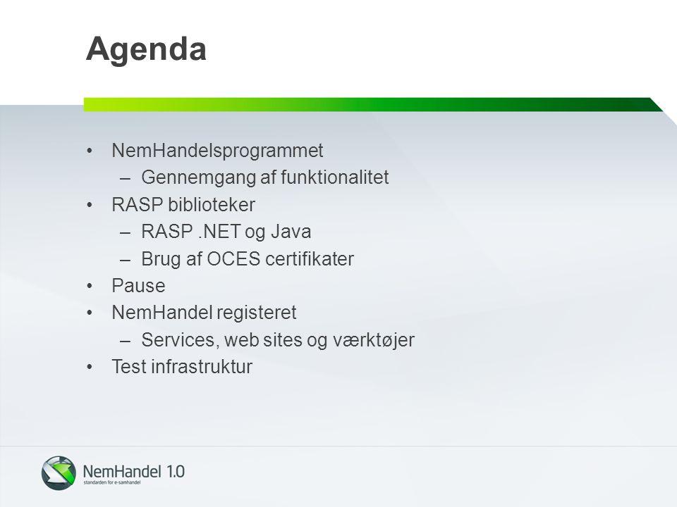 Agenda NemHandelsprogrammet Gennemgang af funktionalitet