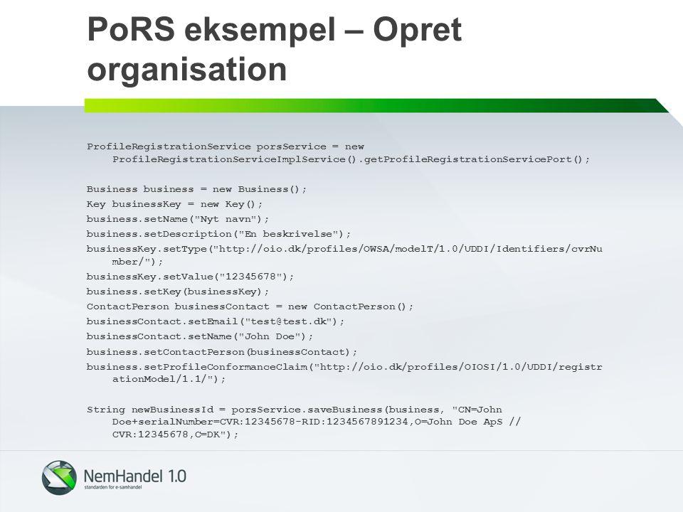 PoRS eksempel – Opret organisation