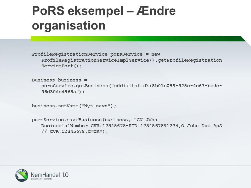 PoRS eksempel – Ændre organisation