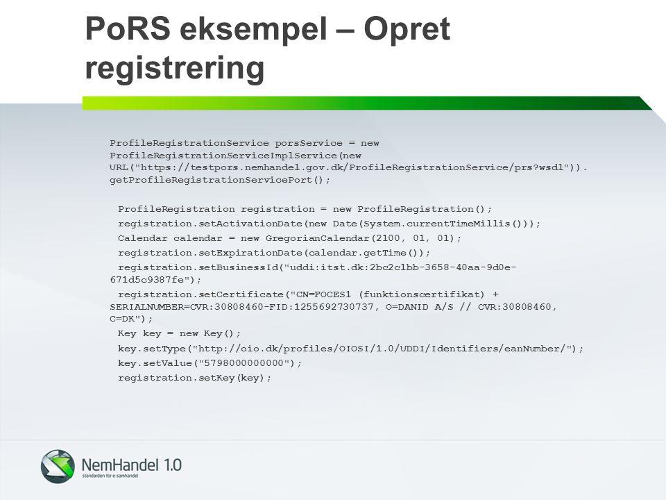 PoRS eksempel – Opret registrering