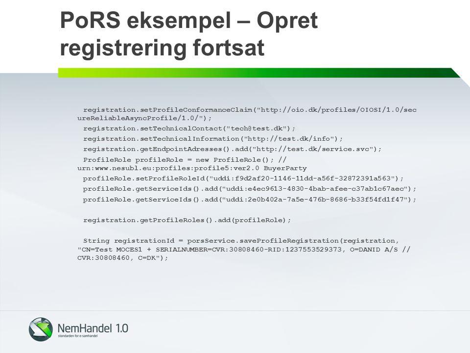 PoRS eksempel – Opret registrering fortsat