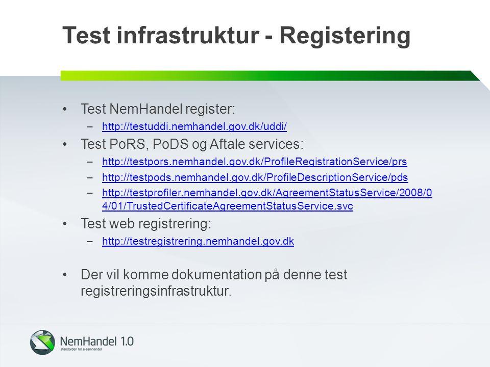 Test infrastruktur - Registering